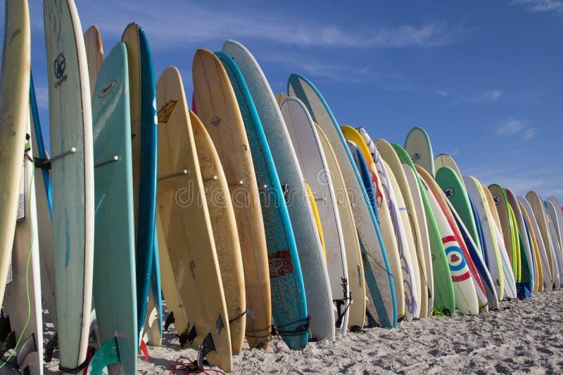 Surfboards на пляже стоковые фотографии rf