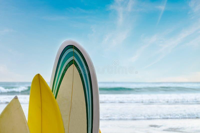 Surfboards стоят в ряд против волн и голубого неба стоковое фото