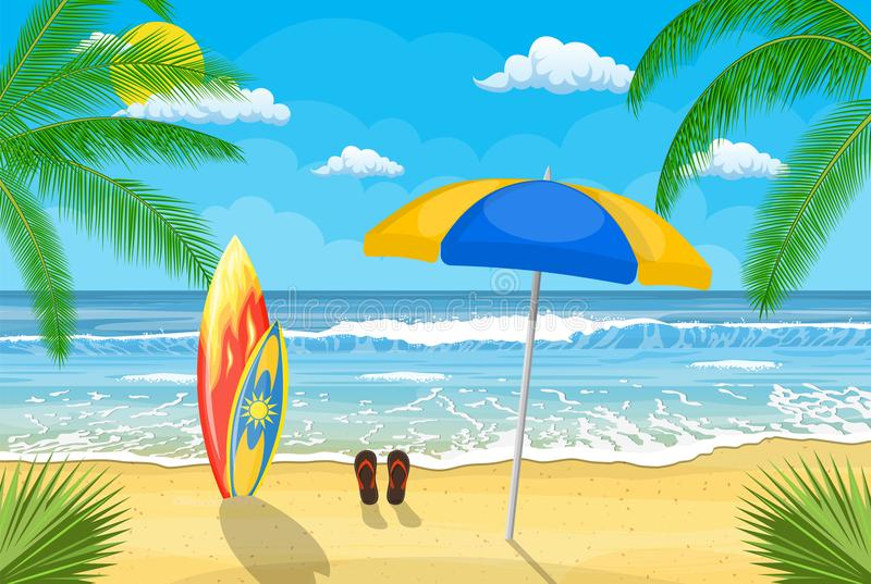 Surfboards on a beach against a sunny seascape stock illustration