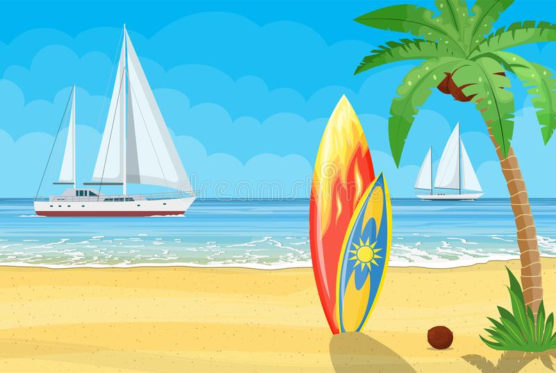 Surfboards on a beach against a sunny seascape stock illustration