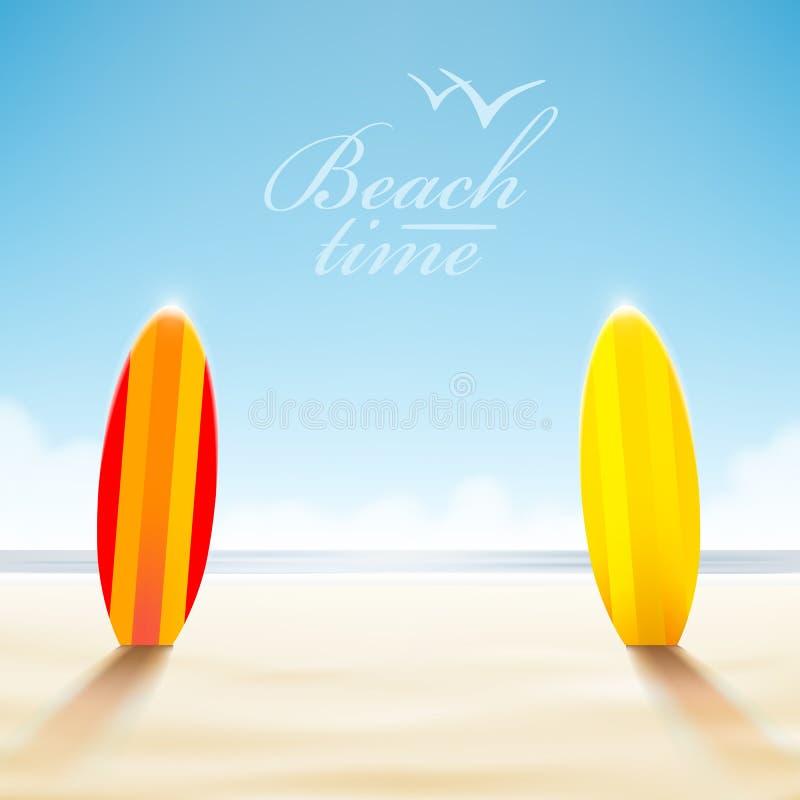 Surfboards on a beach vector illustration