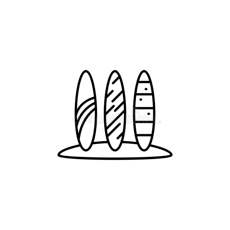 surfboards icon. Simple thin line, outline vector of summer icons for UI and UX, website or mobile application vector illustration