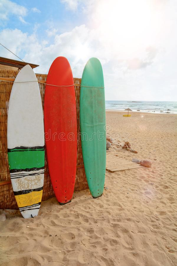 Surfboards at Praia do Amado, Beach and Surfer spot, Algarve Portugal Europe royalty free stock photos