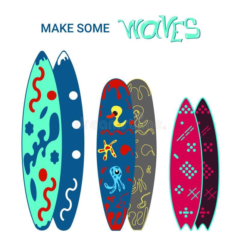 Surfboards projekt ilustracja kolorowa royalty ilustracja