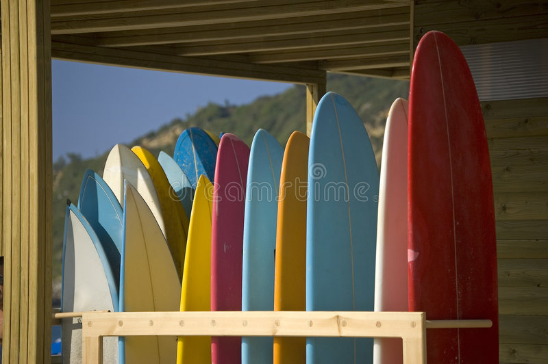 Surfboards rent and store royalty free stock images