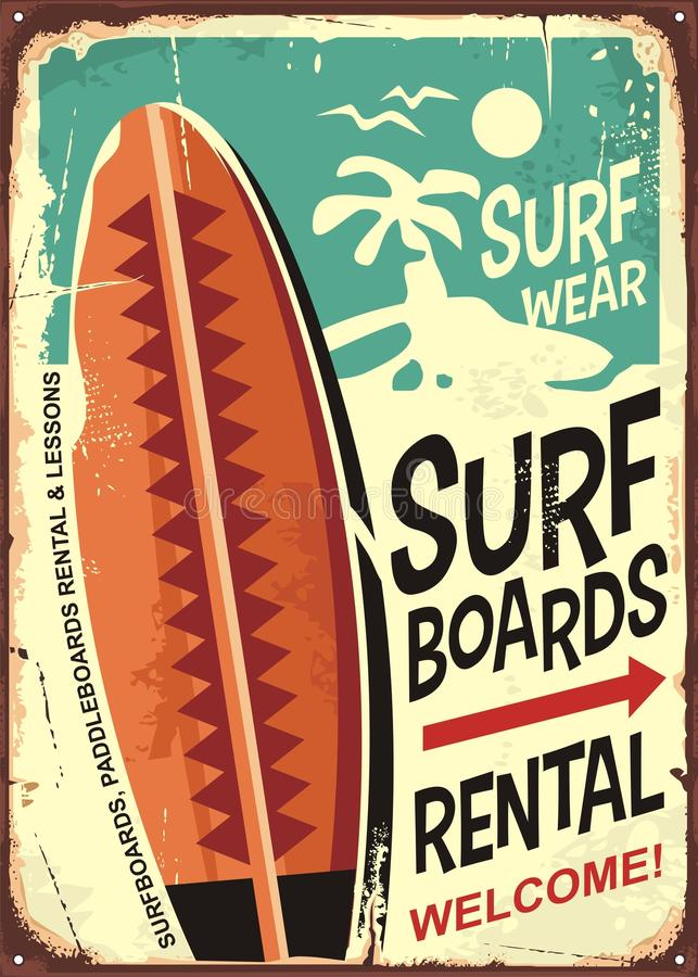 Surfboards rentals retro tin sign design. On old rusty background. Tropical paradise poster. Commercial sign for surfing and beach activities stock illustration
