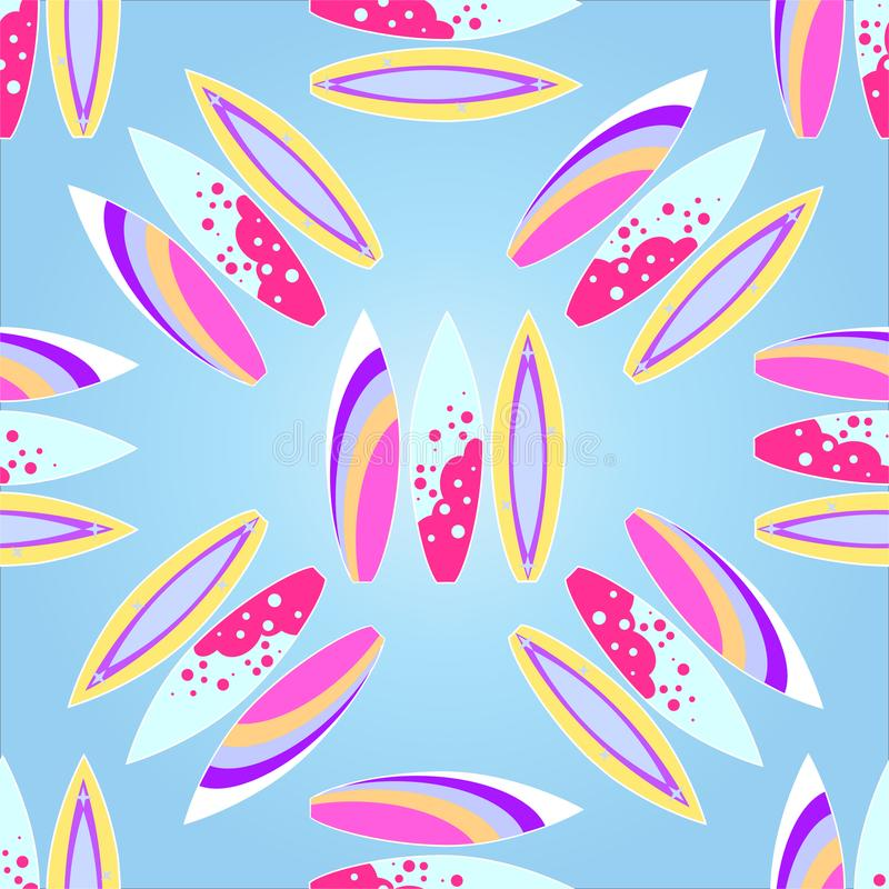 Surfboards seamless pattern with a gradient fill,. Vector illustration of EPS 10 stock illustration