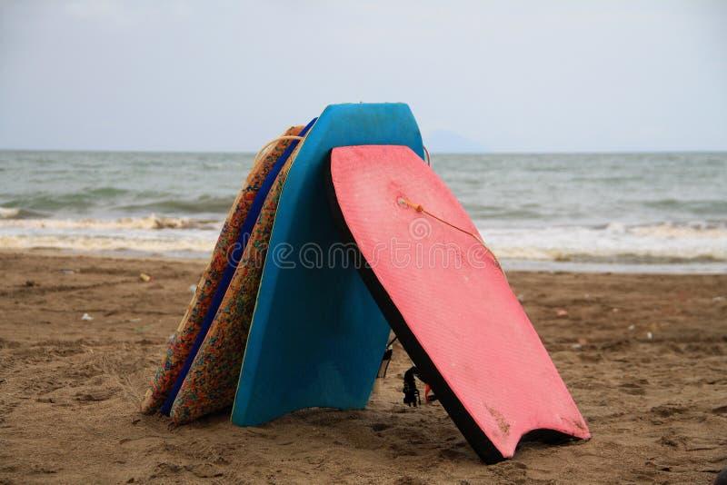 Surfboards. Surfboard rental in Karang Bolong Beach, Serang, West Java, Indonesia royalty free stock photos