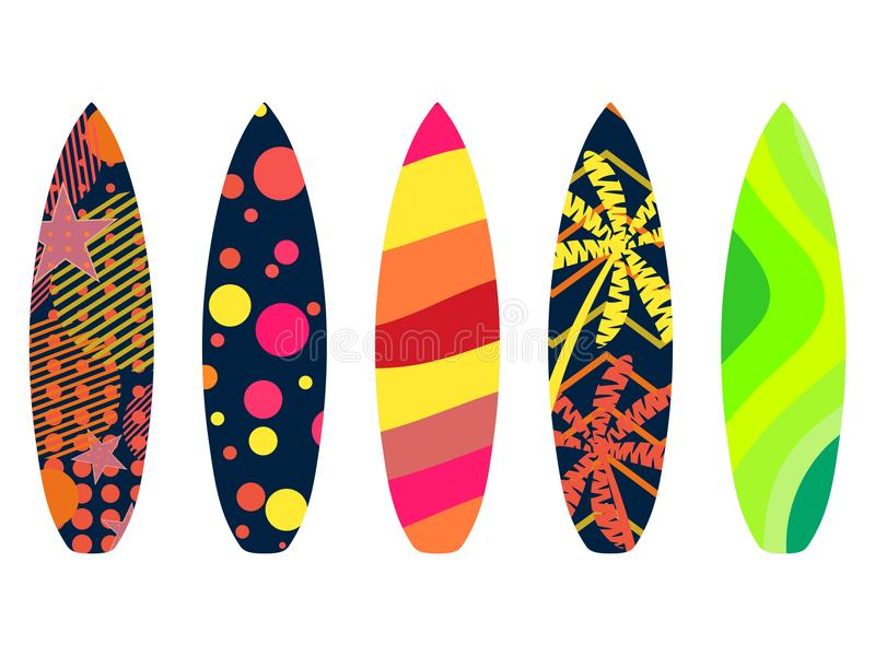 Surfboards on a white background. Types of surfboards with a pattern. Tropics, palm trees, summer motive. Vector stock illustration