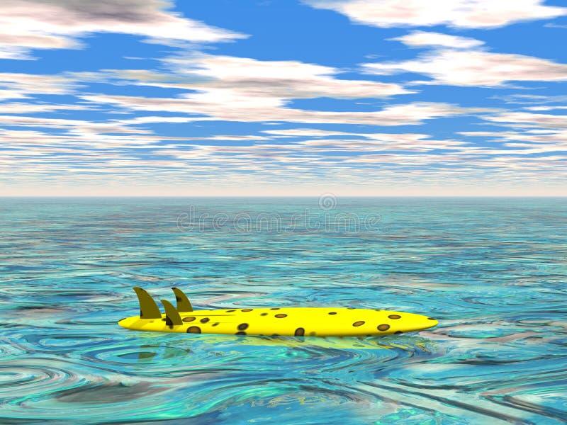 Surfbrett In Dem Ruhigen Meer Lizenzfreies Stockfoto