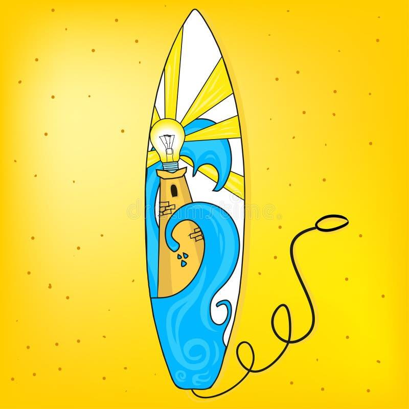 Surfbrett mit Leuchtturm lizenzfreie stockfotografie
