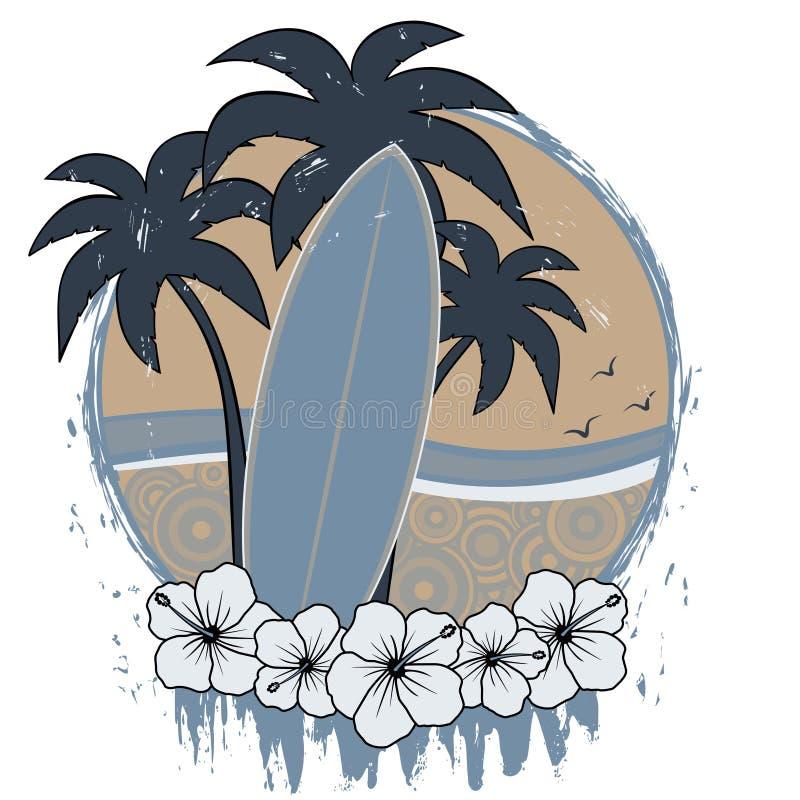 Surfbrett Retro- grunge lizenzfreie abbildung