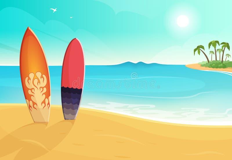 Surfbretter in den verschiedenen Farben See- und Sandstrand Vektor-Sommerhintergrundillustration stock abbildung