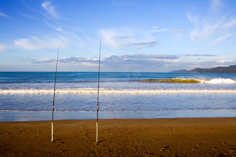 surfcasting taipa的海滩标尺 免版税库存图片