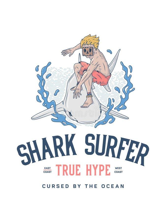 Surfe a campanha publicitária verdadeira do surfista do tubarão ilustração do vetor