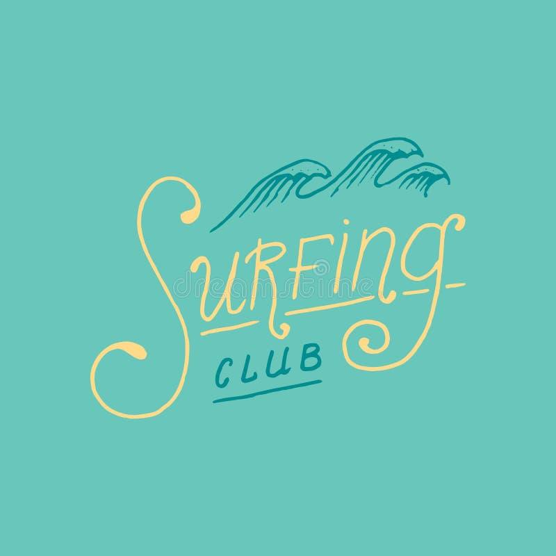 Surfe o crachá e a onda, a palmeira e o oceano Fundo retro do vintage trópicos e Califórnia, prancha, verão no ilustração do vetor