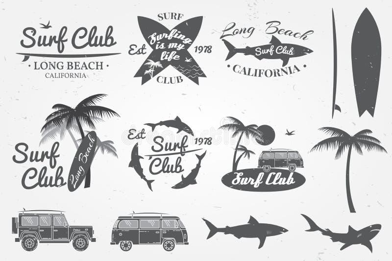 Surfe o emblema do clube, o crachá retro e os elementos do projeto Ilustração do vetor ilustração stock
