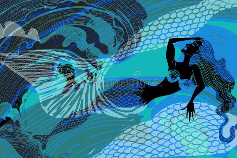 Surfe a sereia da fantasia do oceano que descansa na praia ilustração stock