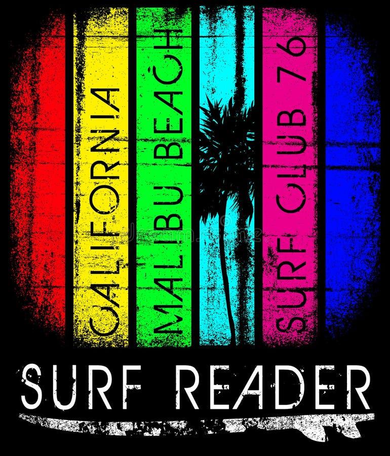 Surfe a tipografia de Califórnia, gráficos do t-shirt, cartaz, bandeira, fl ilustração do vetor