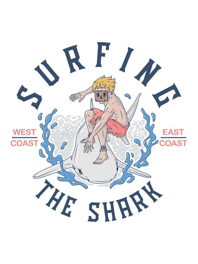 Surfen des Haifischs ohne Furcht lizenzfreie abbildung