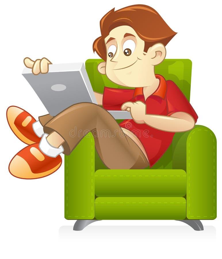 Surfen des Internets auf Sofa lizenzfreie abbildung