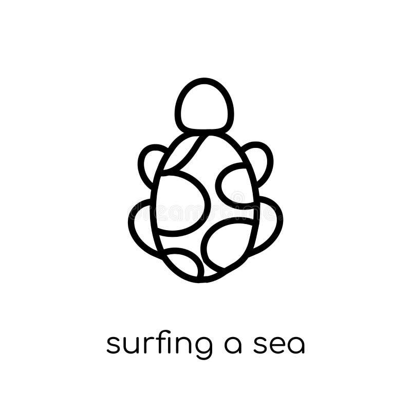 Surfen einer Meeresschildkröteikone von Australien-Sammlung vektor abbildung