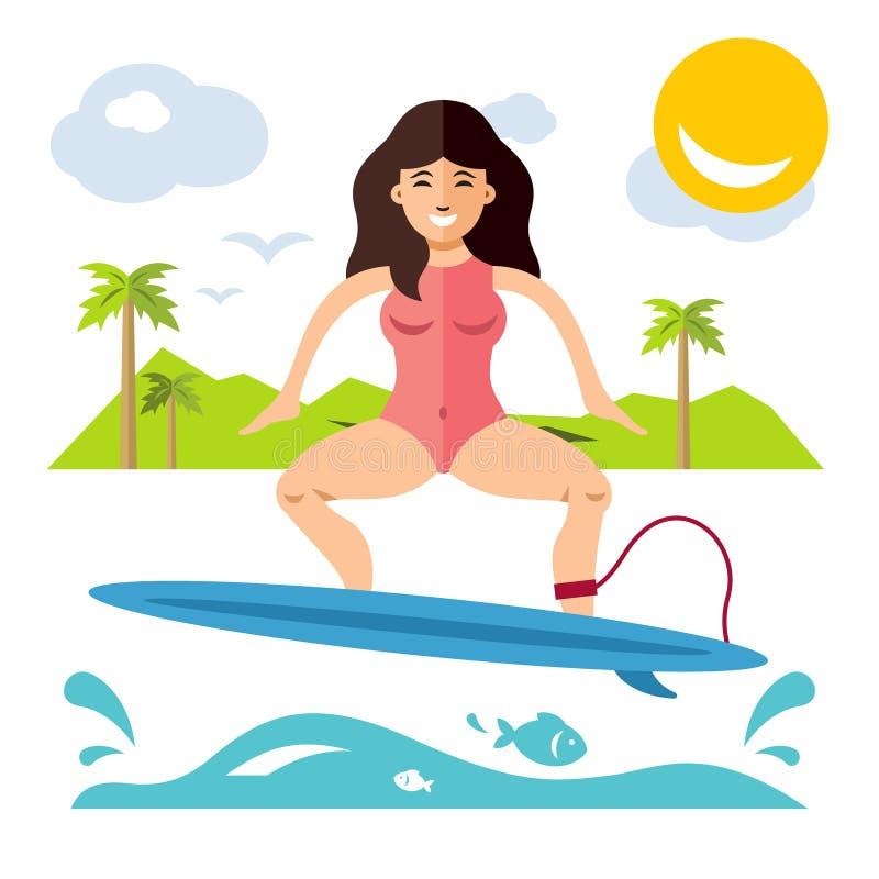 Surfen Flache Art des Vektors bunte Karikaturillustration stock abbildung