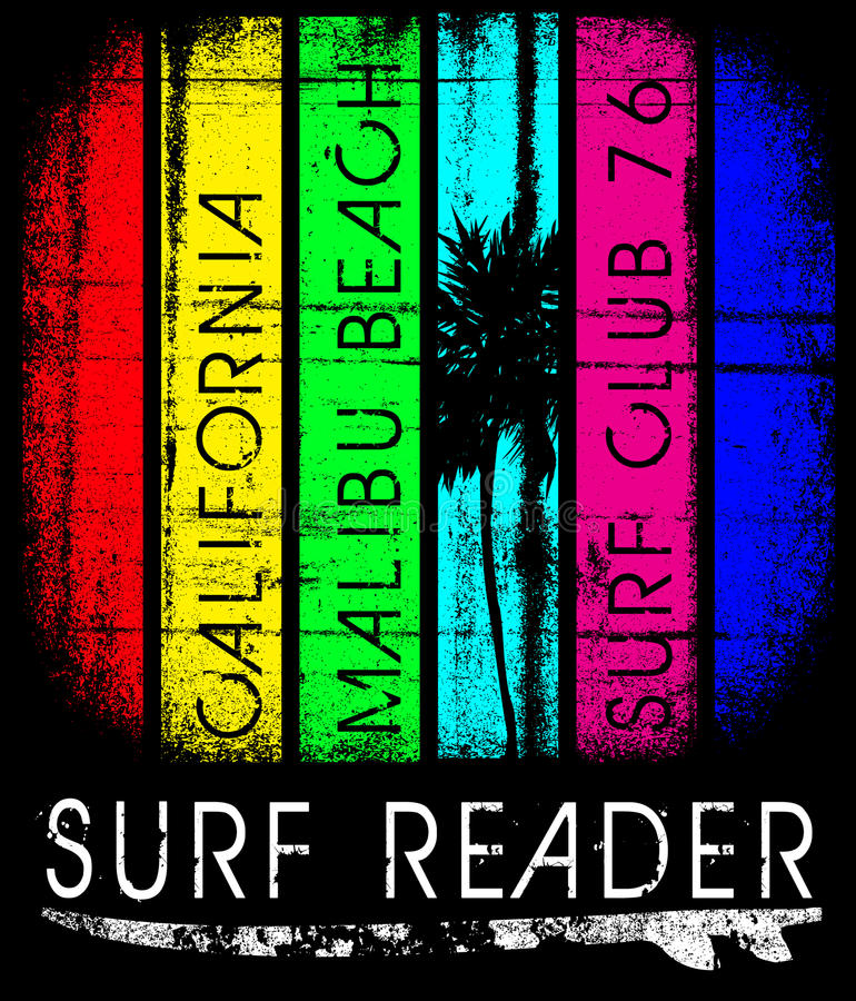 Surfen Sie Kalifornien-Typografie, T-Shirt Grafiken, Plakat, Fahne, Florida vektor abbildung