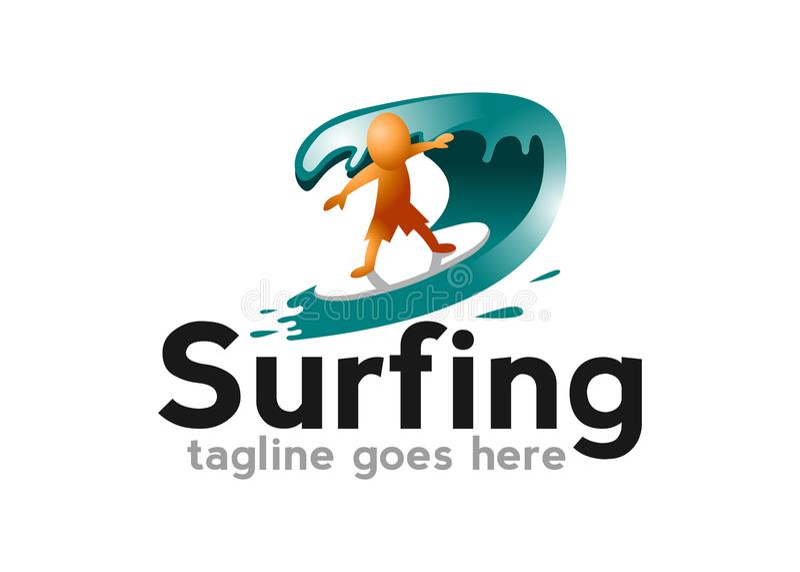 Surfen Sie Logo mit Mann-, Brett- und Meereswellenvektor vektor abbildung