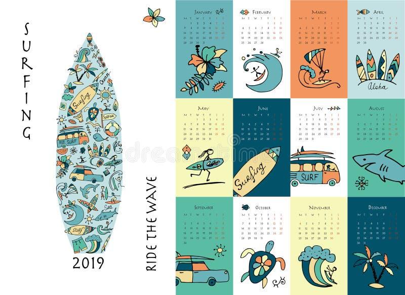 Surfen Sie Schule, Entwurf des Kalenders 2019 vektor abbildung