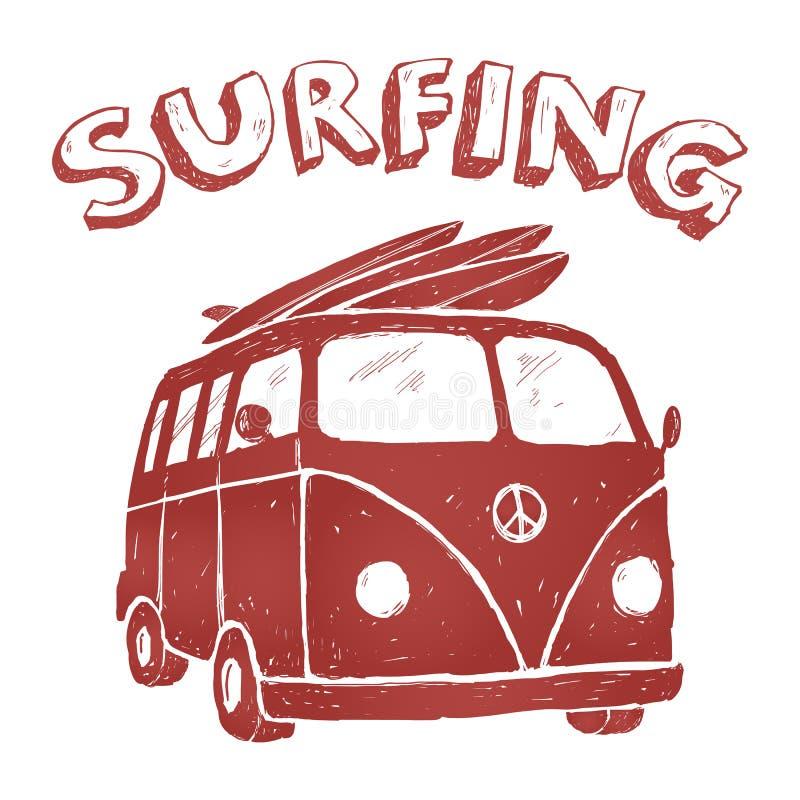 Surfen Sie Van Illustration, T-Shirt Grafiken, Vektoren, Typografie vektor abbildung