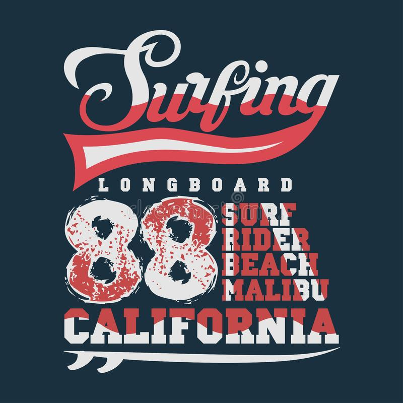 Surfend Californië, T-shirt het surfen malibu, watersporten stock illustratie