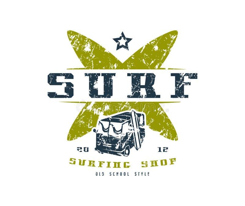 Surfend winkelembleem Grafisch ontwerp voor t-shirt vector illustratie