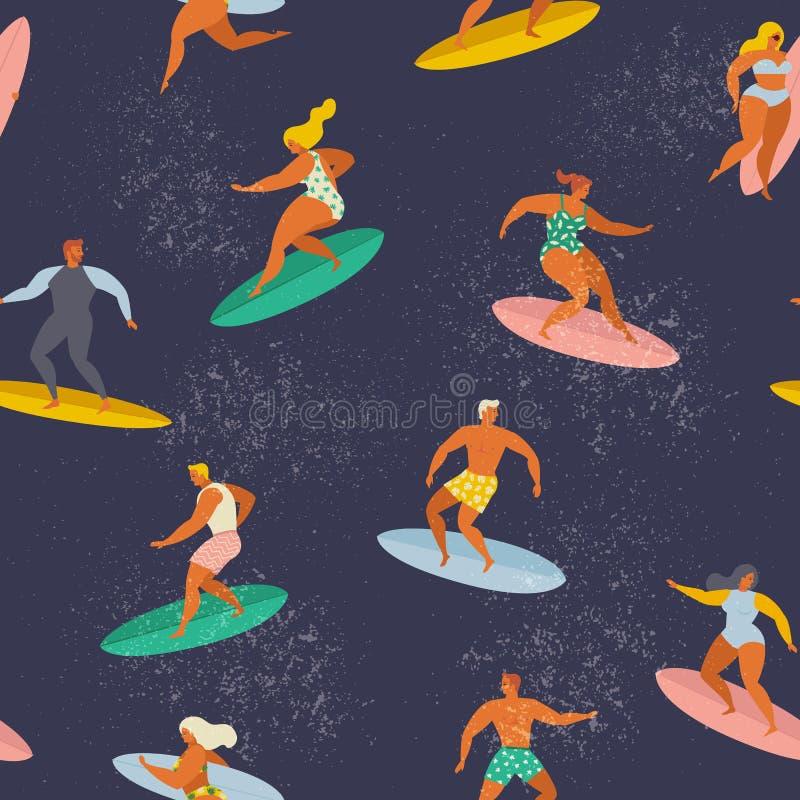 Surfende Jungen und Mädchen auf den Brandungsbrettern, die Wellen im Meer fangen Brandung, Sand und Steine Vector nahtloses Muste vektor abbildung