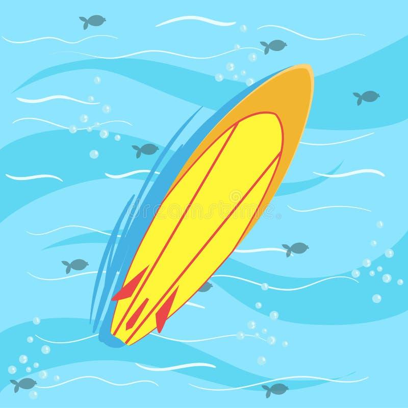 Surfende Raad met Blauw Zeewater op Achtergrond vector illustratie