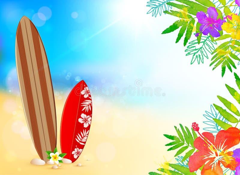 Surfende raad op het strand, vectorachtergrond royalty-vrije illustratie