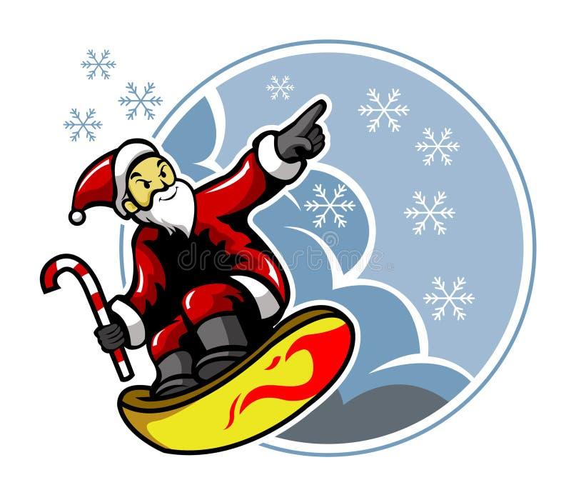 Surfende Santa And Snowflakes stock illustratie