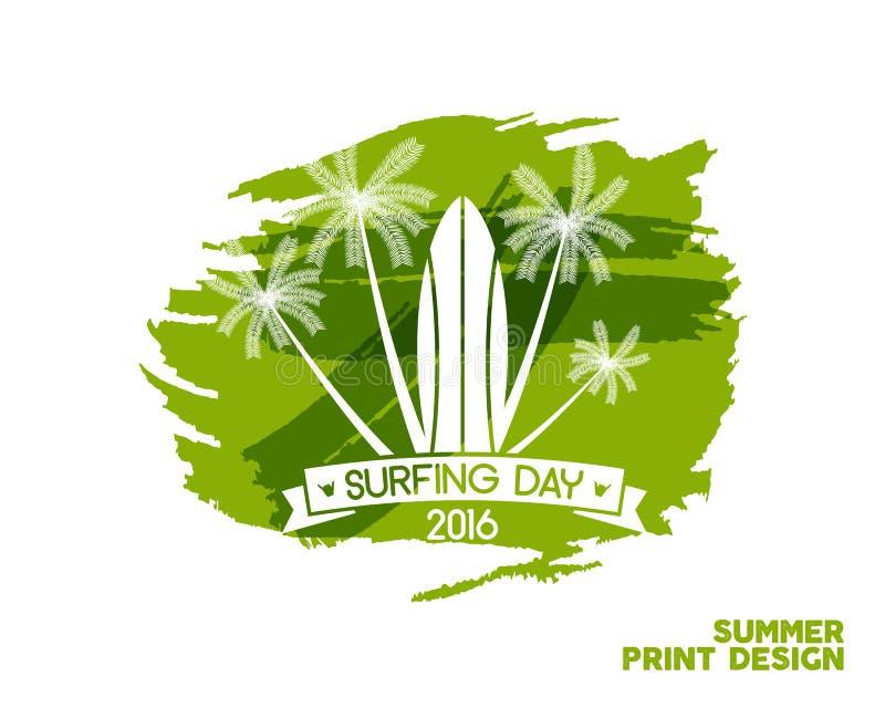 Surfende Tagesaufkleber-Grafikelemente Ferientypographieemblem auf Aquarelltintenspritzen Surferparteiabzeichen mit Brandung stock abbildung