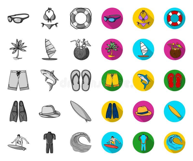 Surfende und extreme Mono-, flache Ikonen in gesetzter Sammlung für Entwurf Surfer- und Zubeh?rvektorsymbol-Vorratnetz lizenzfreie abbildung