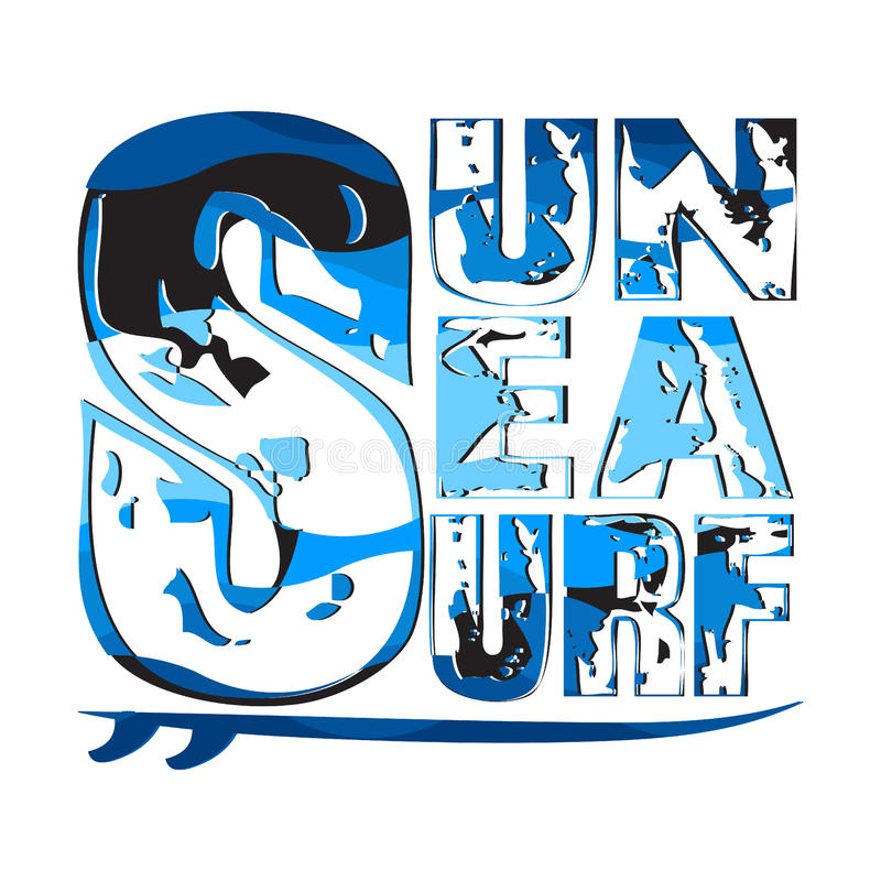Surfende zonoverzees, het surfen t-shirts, T-shirtinschrijving typograph stock foto's