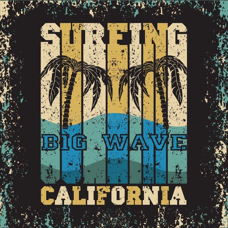 Surfende zonoverzees, het surfen t-shirts, T-shirtinschrijving typograph stock afbeelding
