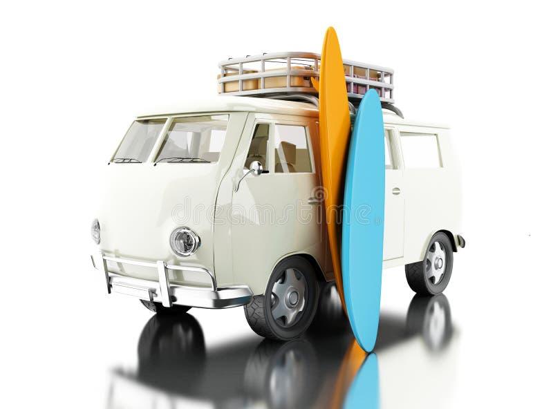 surfender Packwagen 3d mit bunten Surfbrettern lizenzfreie abbildung