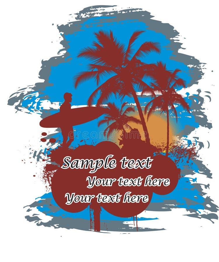 Surfer à l'arrière-plan tropical illustration stock