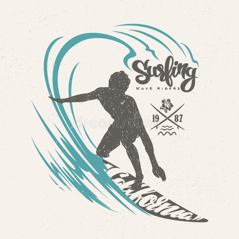 Surfer και μεγάλο κύμα τηγανισμένο αυγό παν πουκάμισο τ σχεδίου ανασκόπησης μαύρο στενό επάνω απεικόνιση αποθεμάτων