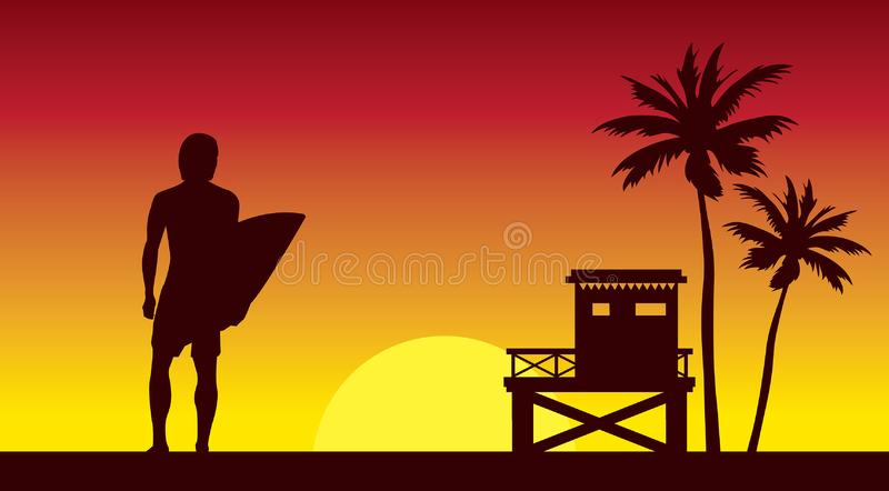 Surfer και lifeguardstation σε έναν ουρανό ηλιοβασιλέματος απεικόνιση αποθεμάτων
