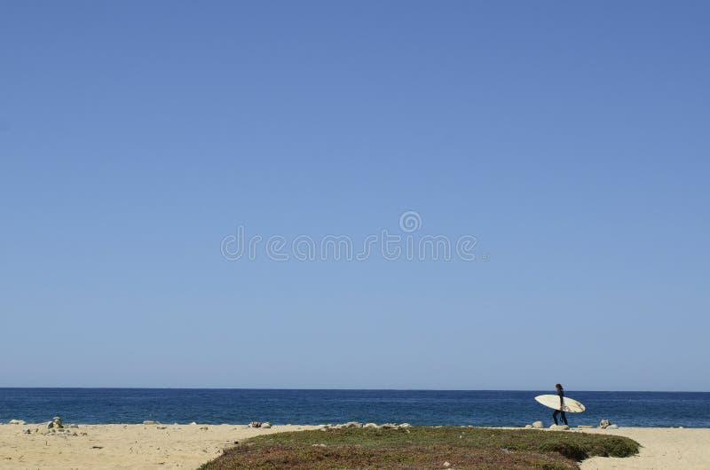 Surfer με τις ιστιοσανίδες στο τοπίο Baja, Μεξικό ακτών παραλιών στοκ φωτογραφίες