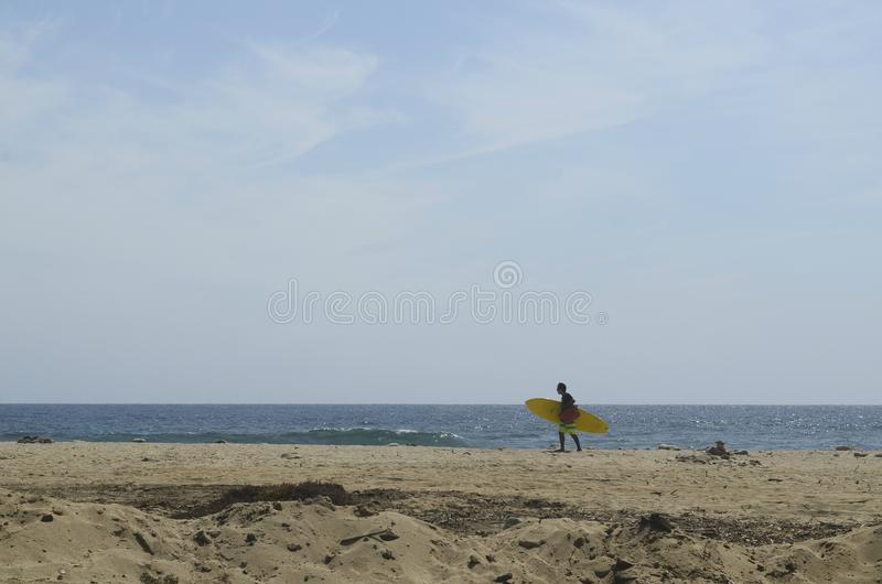 Surfer με τις ιστιοσανίδες στο τοπίο Baja, Μεξικό ακτών παραλιών στοκ φωτογραφία με δικαίωμα ελεύθερης χρήσης