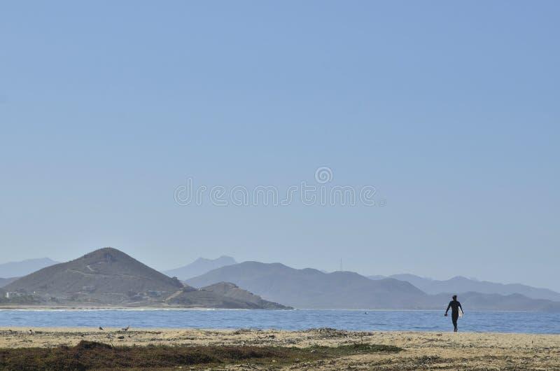 Surfer με τις ιστιοσανίδες στο τοπίο Baja, Μεξικό ακτών παραλιών στοκ εικόνες με δικαίωμα ελεύθερης χρήσης