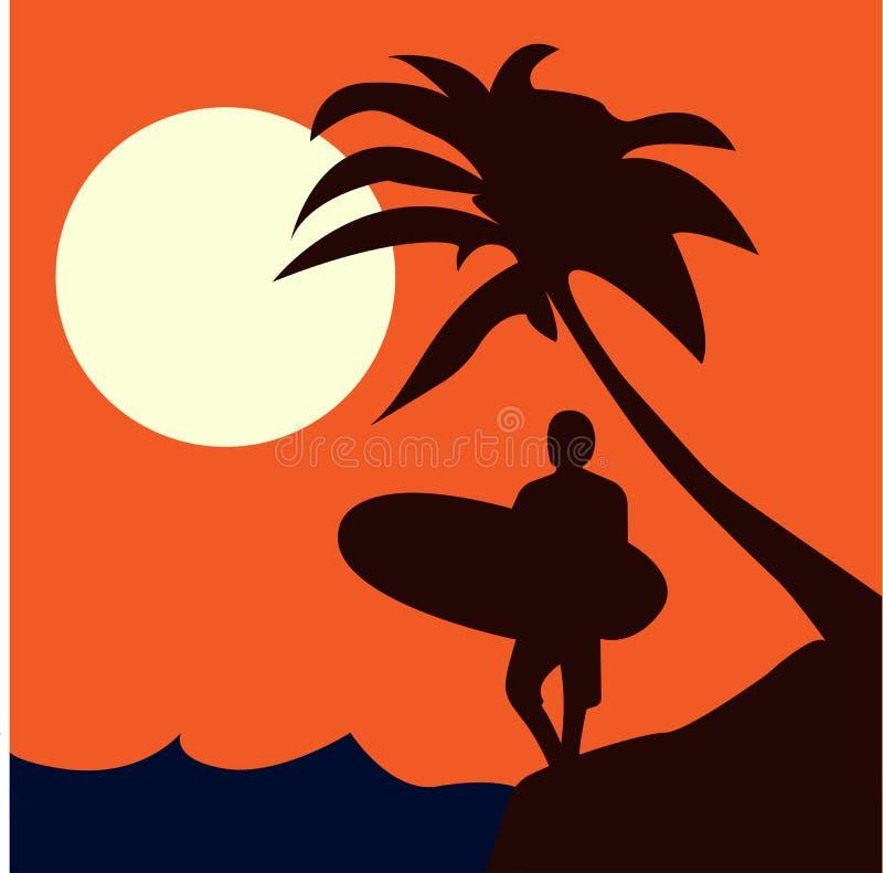 Surfer στην παραλία με το φοίνικα στη διανυσματική εικόνα υποβάθρου ηλιοβασιλέματος διανυσματική απεικόνιση