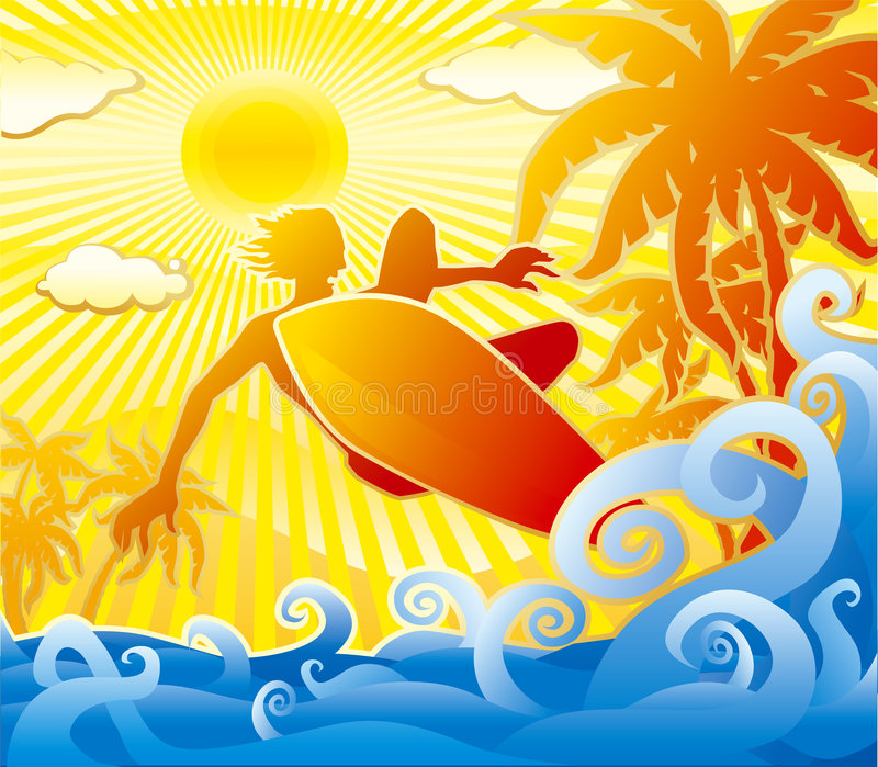 Surfer. Jumping. Summer scene. Ocean, palm trees and sun